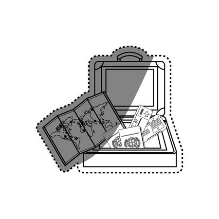 map case: Travel suitcase isolated icon vector illustration graphic design Illustration