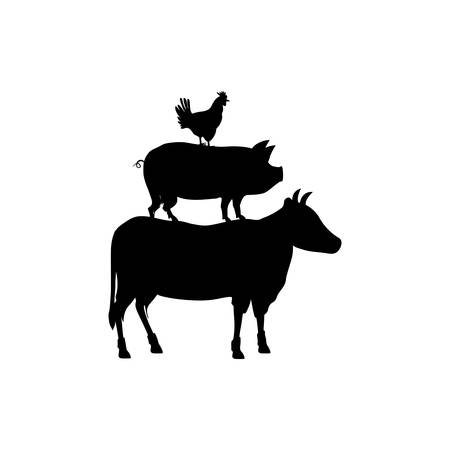 country kitchen: Beef, chicken and pork icon vector illustration graphic design Illustration