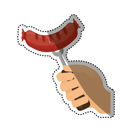 Delicious sausage bbq icon vector illustration graphic design