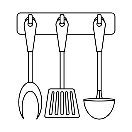figure rack utensils kitchen icon image, vector illustration Vettoriali
