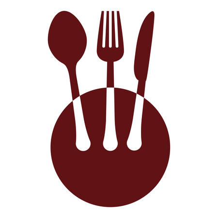Colorful plate with cutlery icon image design, vector illustration