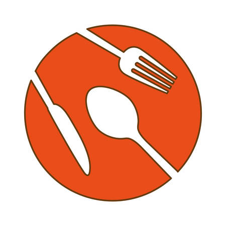 flatwares: orange plate with cutlery icon image design, vector illustration