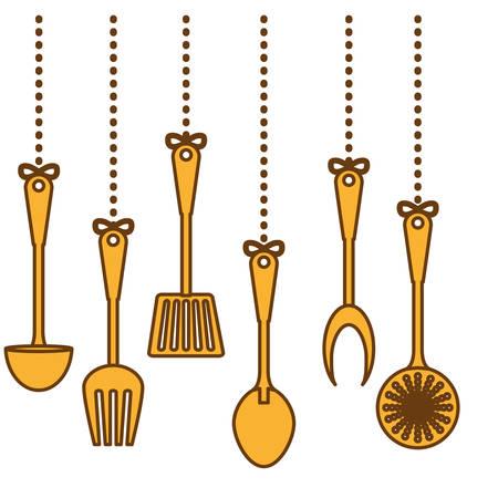 yellow kitchen utensils icon image, vector illustration