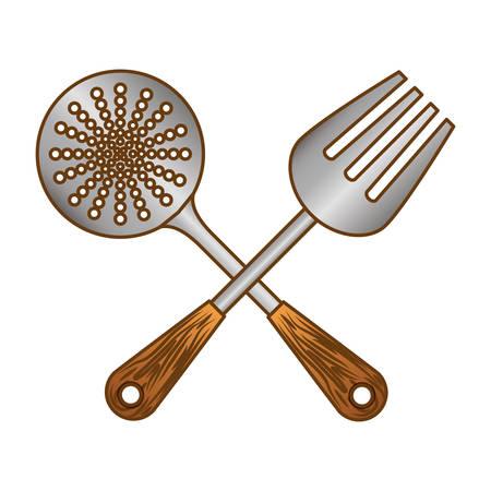 color skimmer with big fork tools, vector illustration Illustration