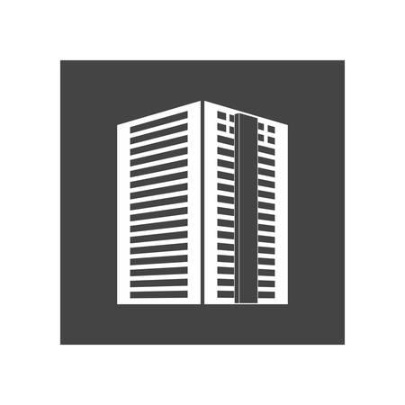 suburban neighborhood: contour apartment building line sticker, vector illustration icon