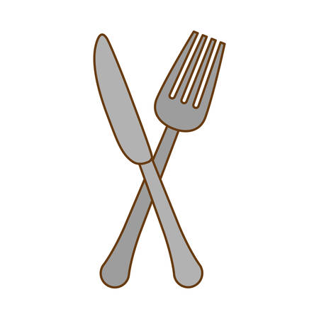 silver knife and fork icon design, vector ilustration