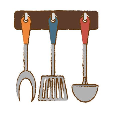 Immagine d'argento dell'icona della cucina degli utensili dello scaffale, illustrazione di vettore Archivio Fotografico - 70567989