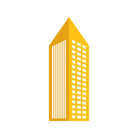 Yellow building with pointed top line sticker icon image Illustration