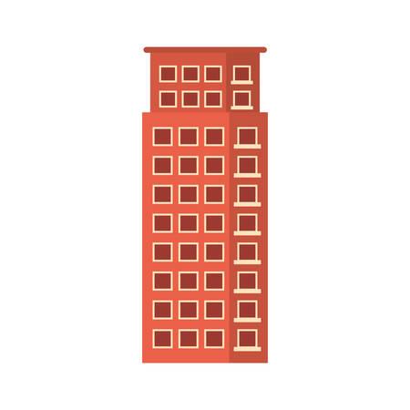 suburban neighborhood: Red apartment building line sticker, vector illustration icon