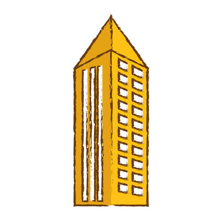 color building with pointed top line sticker icon image