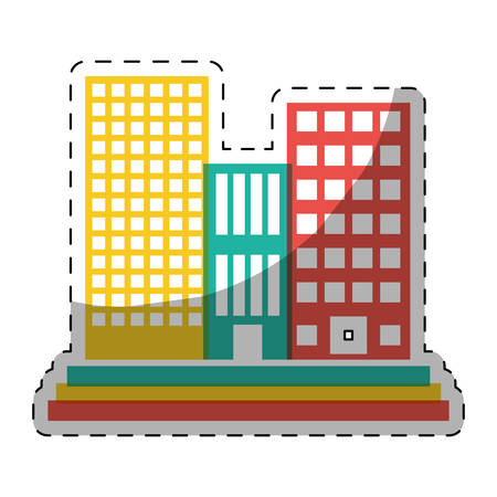 colorful buildings and city scene line sticker, vector illustration