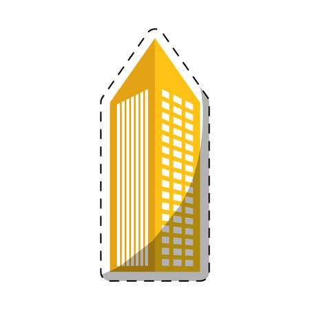 colorful building with pointed top line sticker icon image