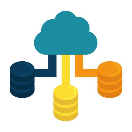 Blue cloud hosting data center image, vector illustration
