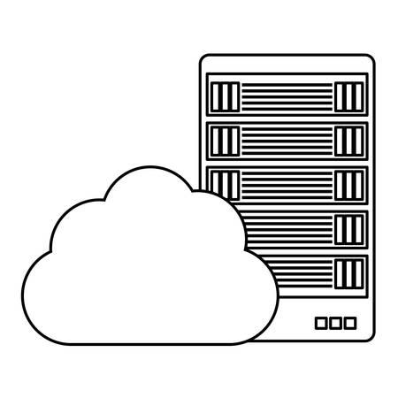 figure data hosting optimization application related icon, vector illustration Illustration