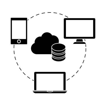 black complete web hosting icon, vector illustration design