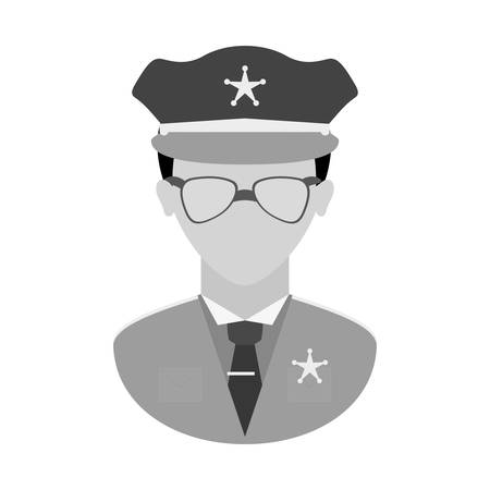 grayscale police officer icon image, vector illustration