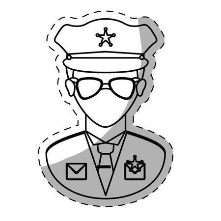 lightbar: figure police officer icon image, vector illustration