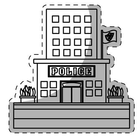 precinct station: figure police station icon image, vector illustration Illustration
