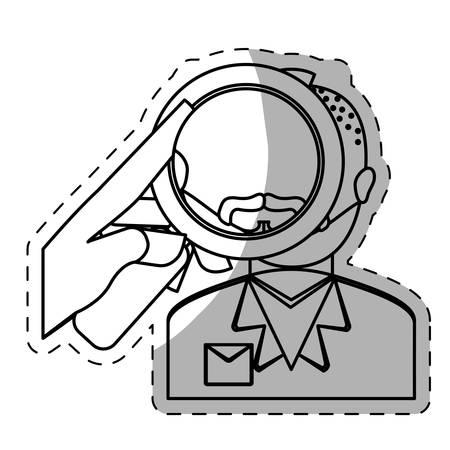 csi: figure police investigating the criminal icon, vestor illustration Illustration
