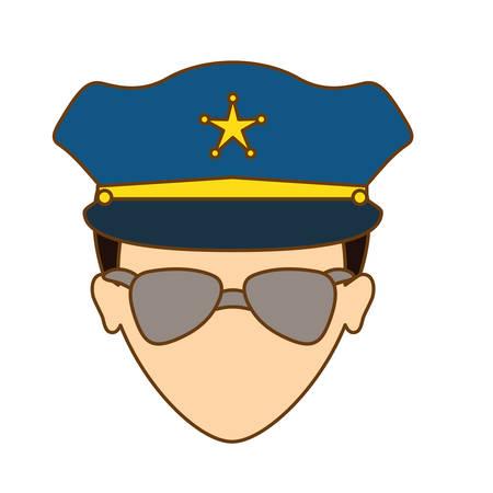 prison guard: color police face icon image, vector illustration Illustration