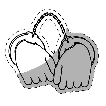 handcuffed: figure hand with handcuffs icon image, vector illustration
