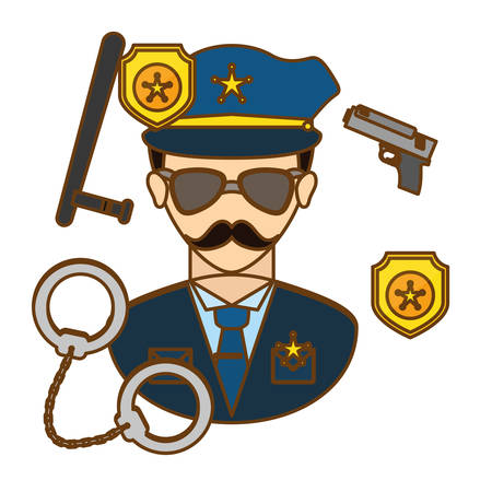 patrol: policeman with his tools icon image, vctor illustration Illustration