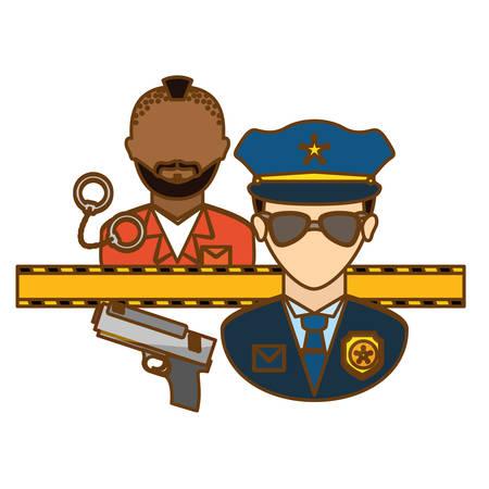 crime prevention: Police Arresting Offender icon image, vector illustration Illustration