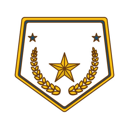 gold police badge icon image, vector illustration