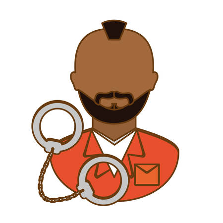 handcuffed: arrested man with handcuffs icon, vector illustration