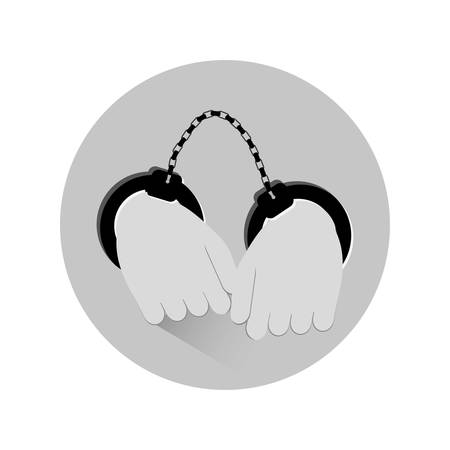 busted: grayscale hand with handcuffs icon image, vector illustration
