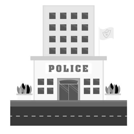 precinct station: grayscale police station icon image, vector illustration Illustration
