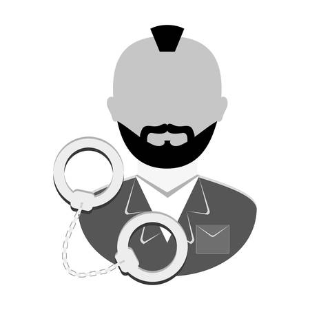 handcuffed: grayscale arrested man with handcuffs icon, vector illustration