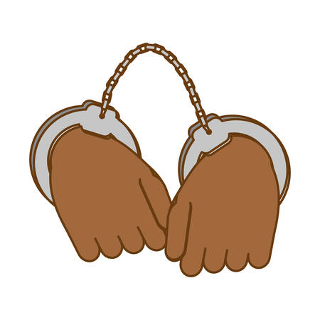 handcuffed: hand with handcuffs icon image, vector illustration Illustration
