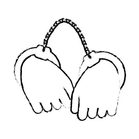 figure hand with handcuffs icon image, vector illustration