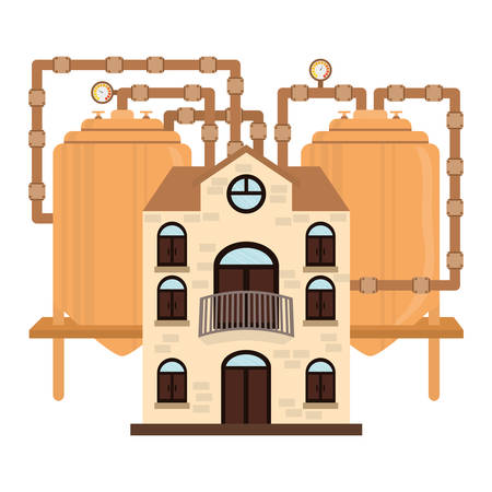 distillation: beer factory icon image design, vector illustration