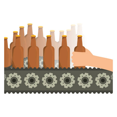 Bottles of beers in the factory icon image, vector illustration Illustration