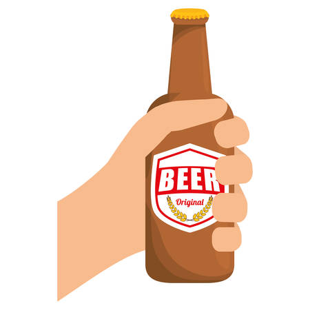 bottles of beer in the hand icon design, vector illustration Illustration