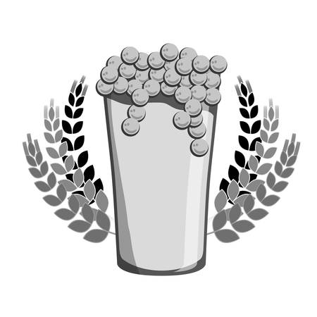 cereal bar: grayscale beer with wheat icon image design, vector illustration