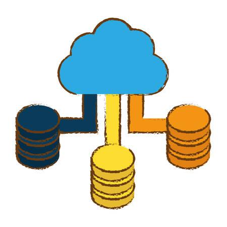 cloud storage icon image sketch style vector illustration design