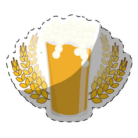 beer with wheat icon image design, vector illustration Illustration