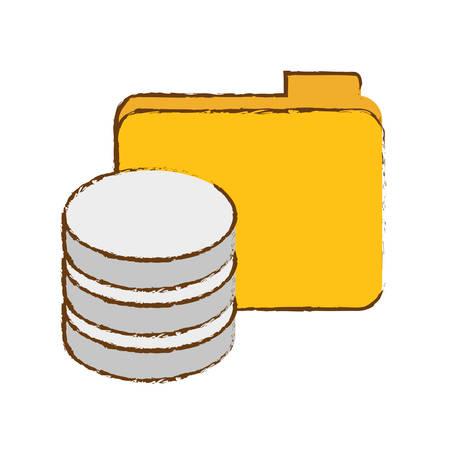 data center storage icon image sketch style  vector illustration design Illustration