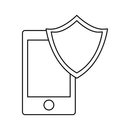 detainee: smartphone shield server banner icon image vector illustration