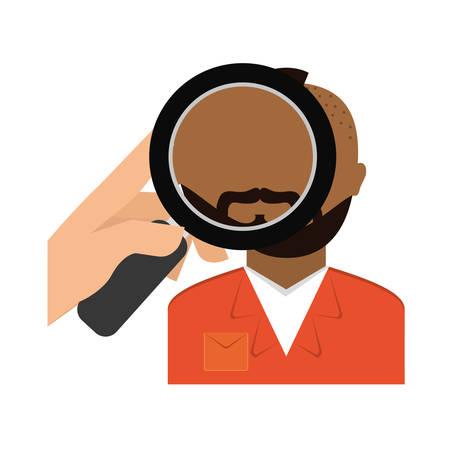 civil rights: magnifying glass on prisoner criminal investigation icon image vector illustration design Illustration