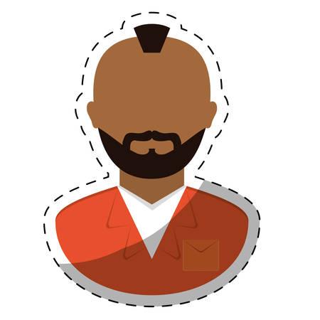 jail prisoner with dark skin icon image vector illustration design