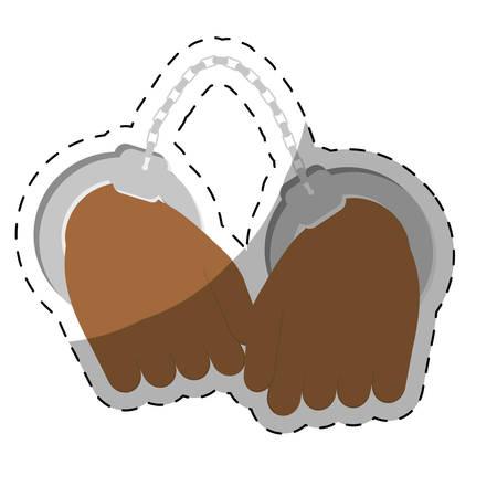 handcuffs crime icon image sticker vector illustration design