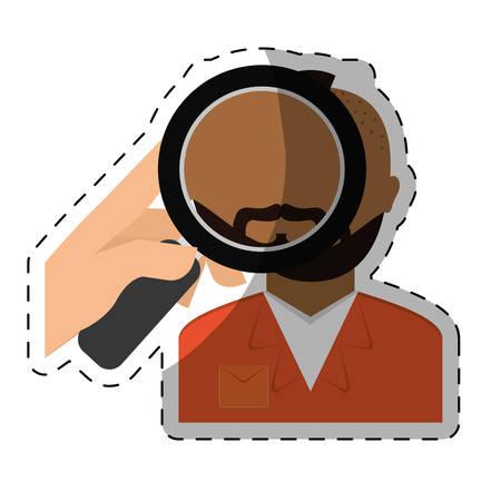 punish: magnifying glass on prisoner criminal investigation icon image vector illustration design Illustration