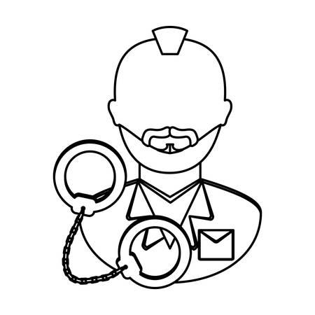 handcuffed criminal  icon image black line  vector illustration design Illustration