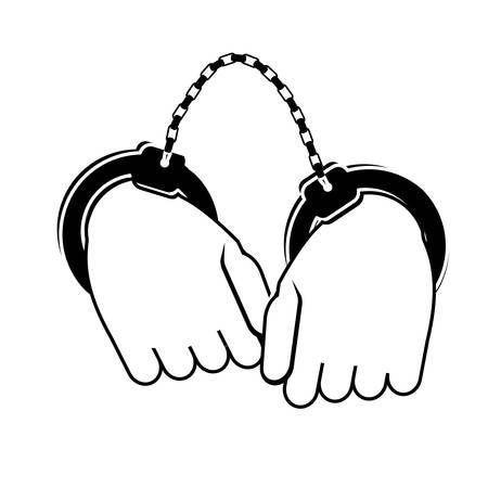 handcuffs crime icon image vector illustration design