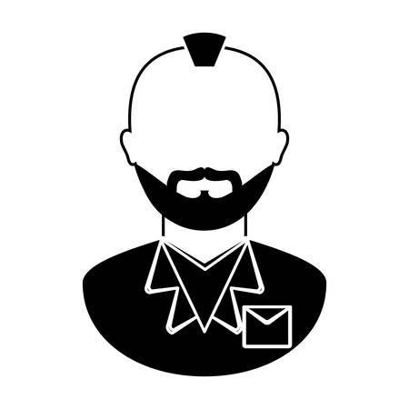 bearded man with mohawk icon image vector illustration design Illustration
