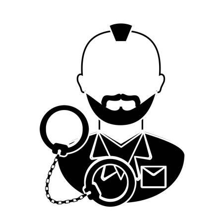 handcuffed criminal  icon image vector illustration design